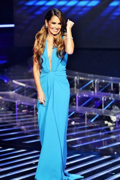blue dress prom dress cheryl fernandez gown V-neck dress
