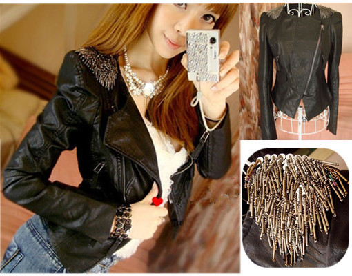 Studded Shoulder Epaulet Lapel Jacket Blazer brief paragraph PU leather Coat-inLeather & Suede from Apparel & Accessories on Aliexpress.com