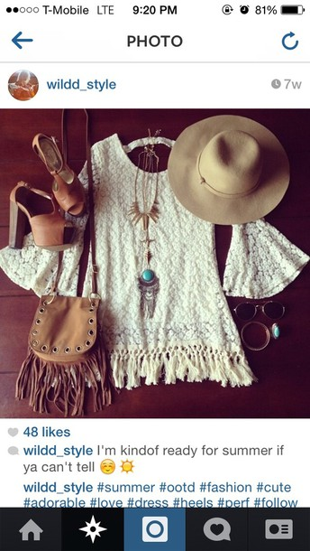 dress boho long sleeves bag shoes hat jewels white lace dress brown thick heels