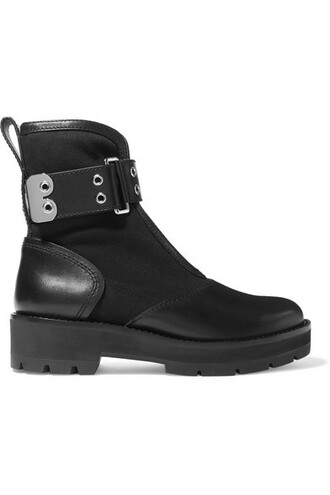 ankle boots leather black knit shoes