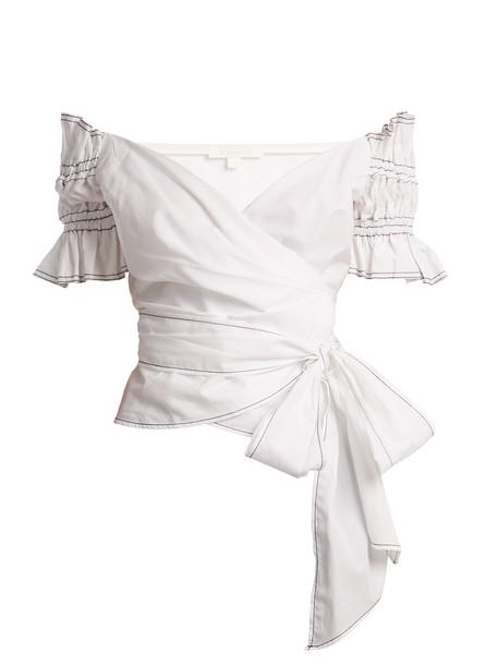 Jonathan Simkhai top wrap top cotton white