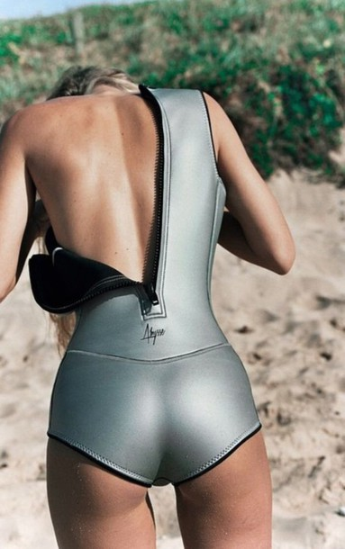 e2dfd334f2 Swimwear neoprene one piece swimsuit surf beach silver jpg 383x610 Neoprene  swimsuit