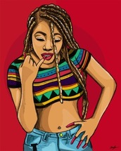 shirt,braid,poetic justice,friday,aztec,tribal pattern,denim,high waisted denim shorts,nails,red,blonde hair,crop tops