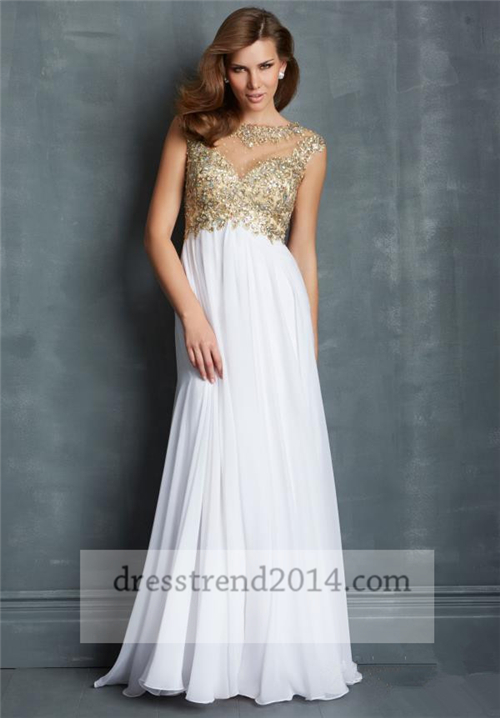 prom dress white dress WHITE AND GOLD DRESS: Shop for prom dress.