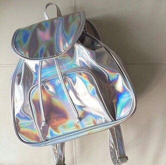 bag metallic holographic bag silver bag school bag backpack