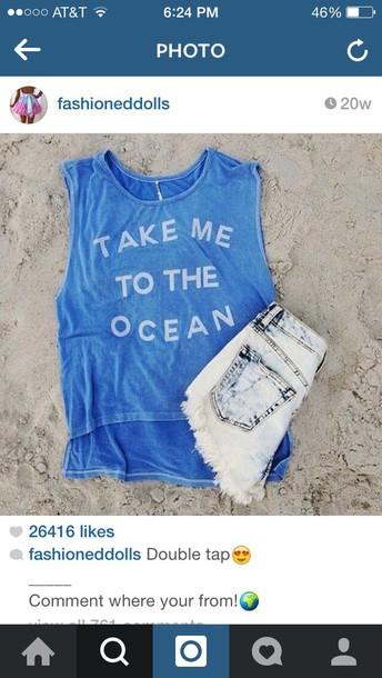 blouse shirt blue shirt cute summer outfits ocean shorts tank top