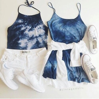 dress blue tie dye summer summer outfits cute tumblr tumblr outfit boho indie hippie hipster weheartit halter top halter crop top fashion vibe