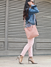 jeans,suede bag,tumblr,pink jeans,high heels,heels,grey heels,bag,suede,pink bag,jacket,blue jacket,denim jacket,shirt,gingham,spring outfits