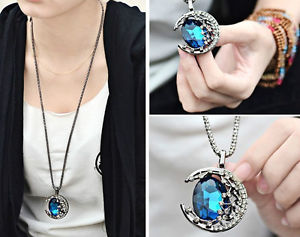 1pc Moon Blue Crystal Sweater Chain Ajustable Charm Necklace