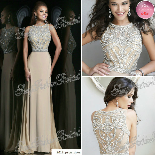 Aliexpress.com : Buy New Arrived O Neck Top With Crystals A line Floor length Chiffon Formal Party Evening Dresses Gowns from Reliable dresses fashion suppliers on sexyfashionbridal