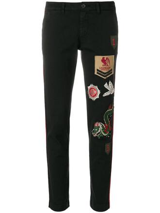 patchwork women spandex cotton black pants
