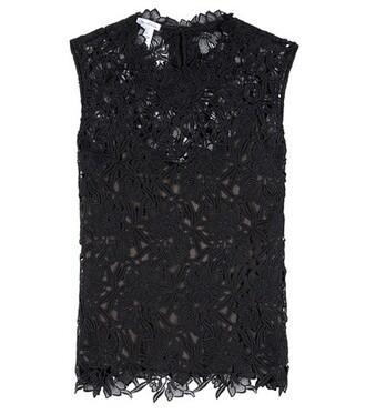 blouse lace floral black top