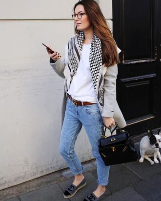 coat tumblr grey coat scarf denim jeans blue jeans chanel chanel shoes espadrilles chanel espadrilles bag black bag top white top fall outfits glasses gucci belt logo belt french girl style