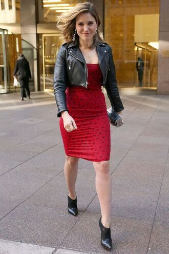 dress reformation reformation dress red dress bodycon dress tube dress printed dress booties black booties high heels boots cropped jacket black jacket black leather jacket leather jacket jacket sophia bush celebrity style celebrity