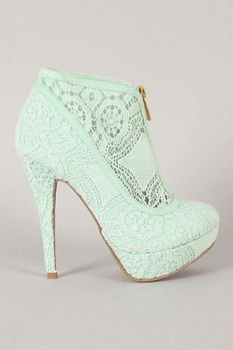 shoes turquoise ankle boots heel vintage lace