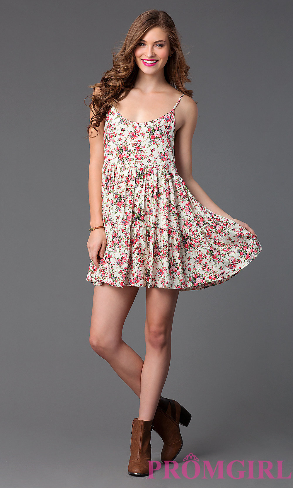 short floral print summer dress