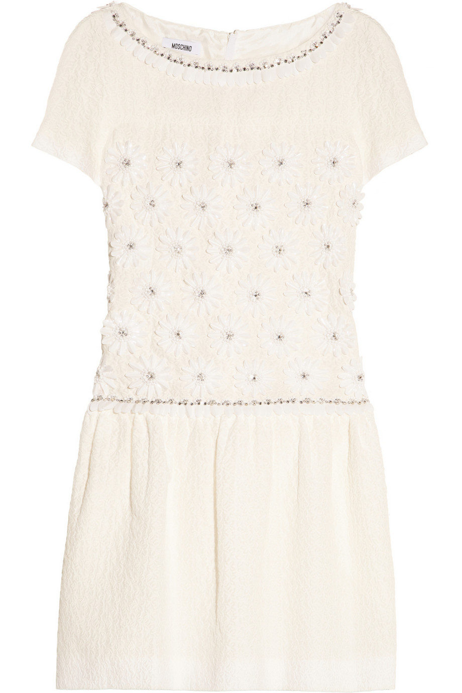 Embellished cotton-blend floral-jacquard mini dress | THE OUTNET