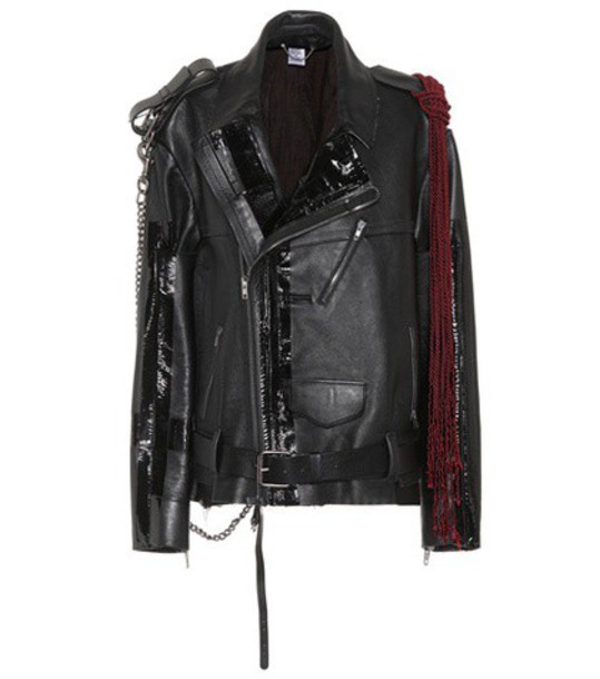 Vetements jacket biker jacket embellished leather black