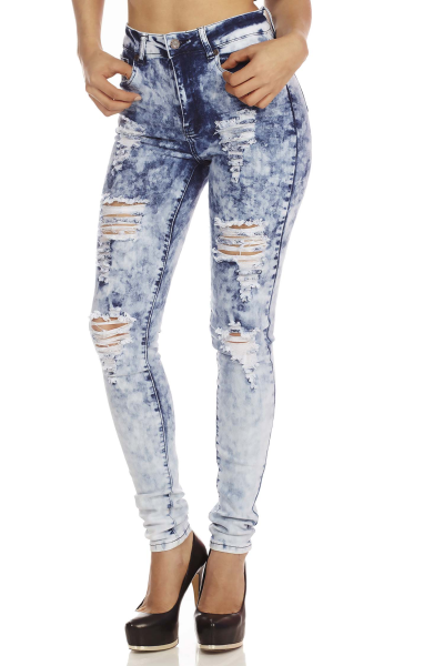 Acid wash high waist distressed skinny jeans