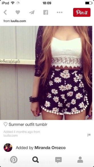 top shorts blouse jewels
