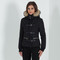 Fur hooded quilted coat - black