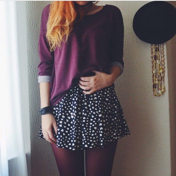 skirt black sweater burgundy sweater burgundy purple sweater purple black skirt heart heart print