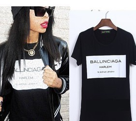 women men print letters  Ballinciaga Harlem tee t shirt short sleeve Fashion black black-in T-Shirts from Apparel & Accessories on Aliexpress.com