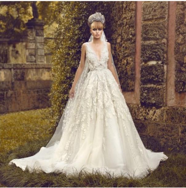 dress wedding dress white beautiful lace