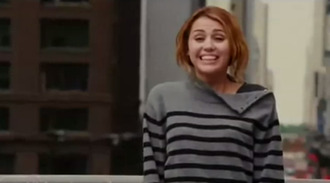 funny miley cyrus grey sweater clothes sweater lol film grey black stripes ripped soft tumblr pinterest