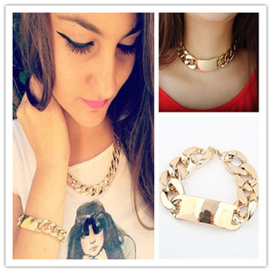 LADY Aluminium Alloy Light Gold Chunky Curb Chain Bib Choker Necklace BRACELET | eBay