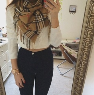 sweater cream cropped sweater scarf cardigan checkered scarf jeans blouse gloves top jewels pants crop tops crop top jumper ribbed knitwear cream jumper burberry scarf leather pants cream sweater beautiful outft winter outfits winter sweater pinterest plaid
