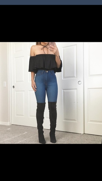 jeans top crop tops black choker necklace thigh high boots
