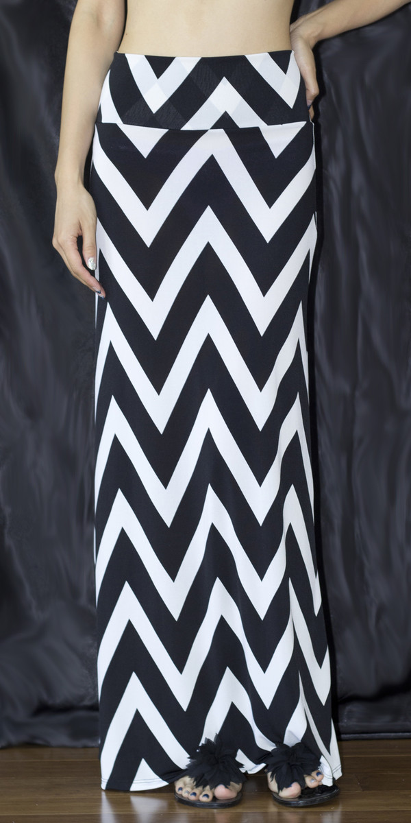 skirt chevron zigzag stripes fold over maxi skirt