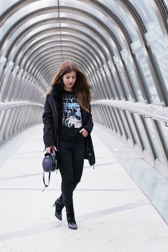 elodie in paris blogger coat top jeans shoes bag