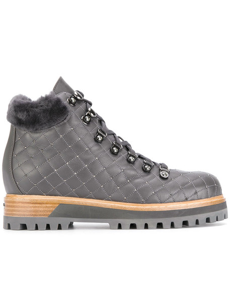 LE SILLA fur women quilted leather grey shoes