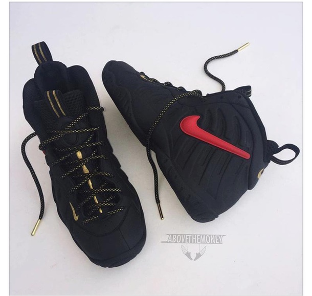 34f19b9d25a shoes black red nike foamposites gold