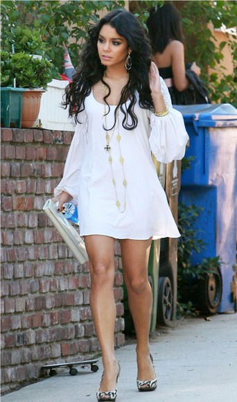 gold necklace white dress