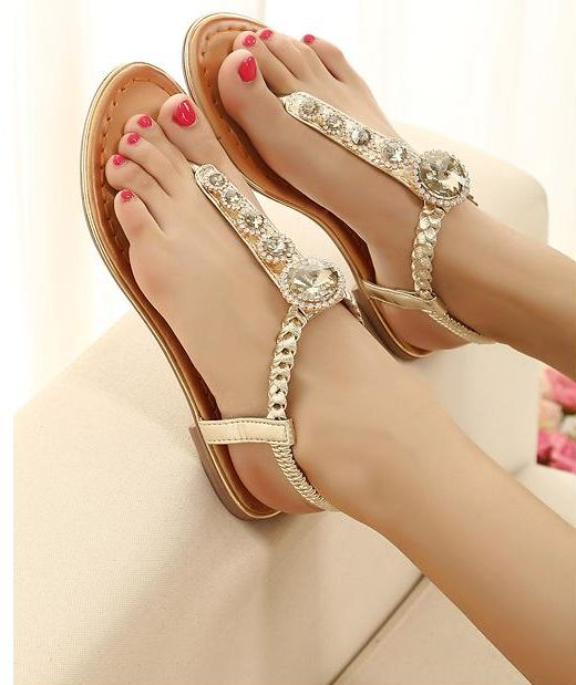 Handmade Rhinestones Flat Sandals on Luulla