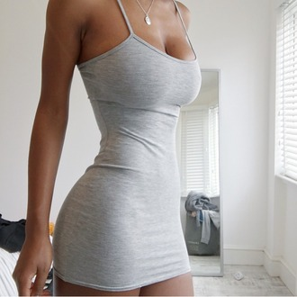 dress grey straps beautiful tight
