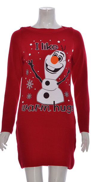 dress women knitted olaf long sleeve christmas dress red