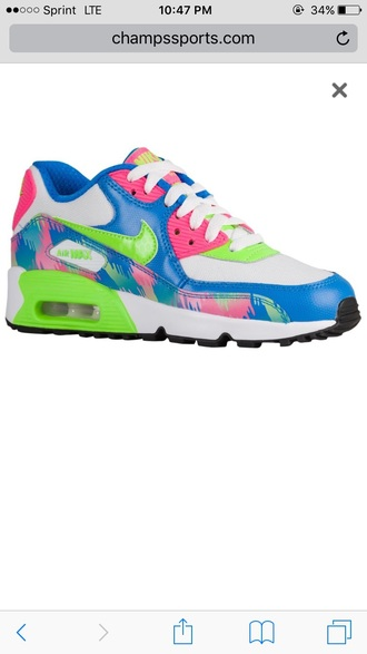 shoes pink blue green white nike nike shoes nike running shoes nike air nike sneakers air max nike air max 90 sportswear running shoes