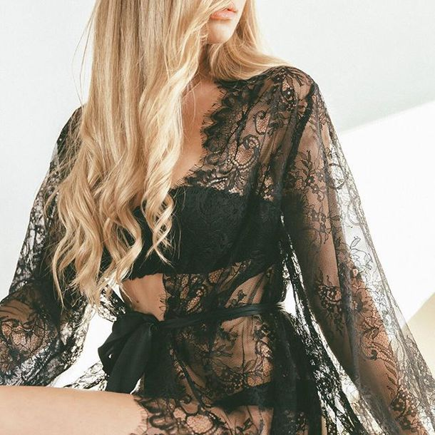 swimwear kimono lace lace lingerie cover up summer outfits black sexy sexy lingerie bikiniluxe