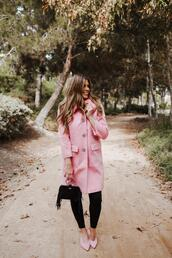 mint arrow,blogger,shoes,coat,bag,pink coat,pink shoes,fall outfits