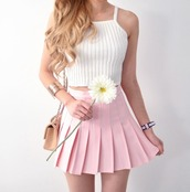 skirt,pink,pink skirt,dress,pink dress,white,white top,cropped,crop tops,white crop tops,knitwear,outfit,pleated,top,flowers,floral,knitted crop top,crop,light pink,skater skirt,pleated skirt,tennis skirt,spring,spring outfits,spring skirt,short dress,short skirt