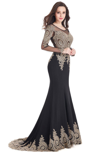 Dress Black Dress Maxi Dress Lace Dress Long Sleeve Dress