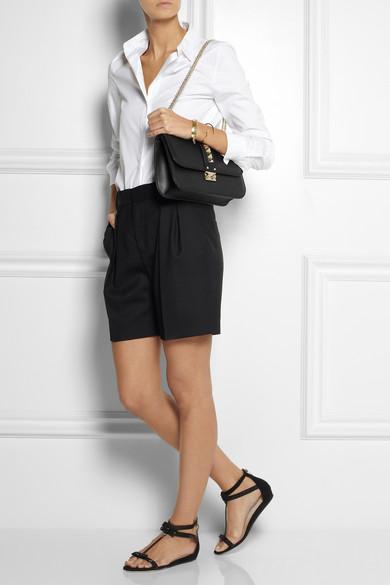 Valentino|Glam Lock studded leather shoulder bag|NET-A-PORTER.COM