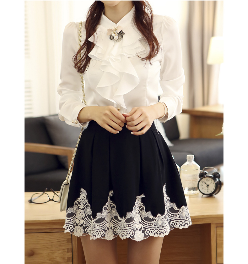 2013 high quality autumn elegant embroidery crochet sweet princess lace pleated skirt bust skirt puff skirt female short skirt