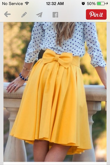 skirt yellow skirt bow on back knee length skirt