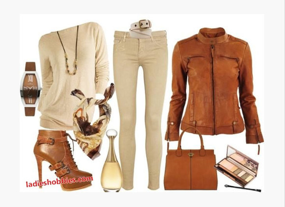 sweater clothes jacket off the shoulder sweater top shirt cream sweater off the shoulder scarf shoes high heels boots ankle boots buckles buckled boots brown heels brown boots potion perfume pants skinny jeans cream pants leather jacket brown leather jacket purse bag belt long sleeve outfit