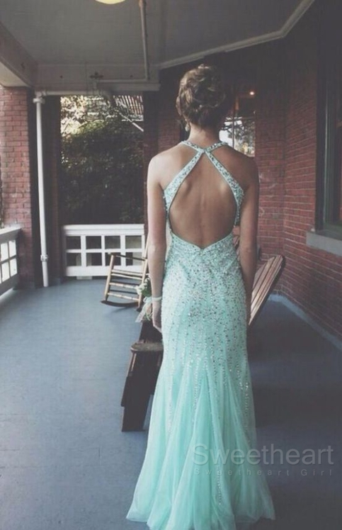 Tulle sequin backless long prom dresses, formal dresses